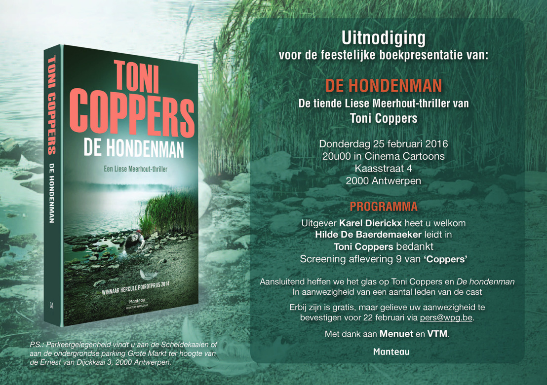 Uitnodiging lancering 'De hondenman', de tiende Liese Meerhout-thriller van Toni Coppers