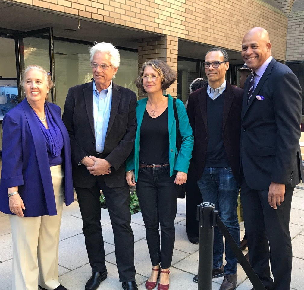 (L-R) Manhattan Borough President, Gale Brewer, WSDG Founding Partner/Director of Design, John Storyk, Celia Imrey principal designer/director Imrey Studio LLC, Eric K. Daniels, principal, Daniels Architect P.C and Eric Pryor, President HSA at the recent groundbreaking ceremony.