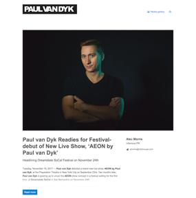 Paul van Dyk Readies for Festival-debut of New Live Show, 'AEON by Paul van Dyk'