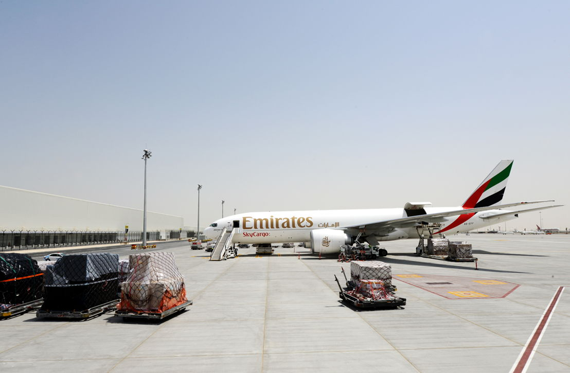 An Emirates SkyCargo Boeing 777 Freighter at Dubai World Central's Al Maktoum International Aiport