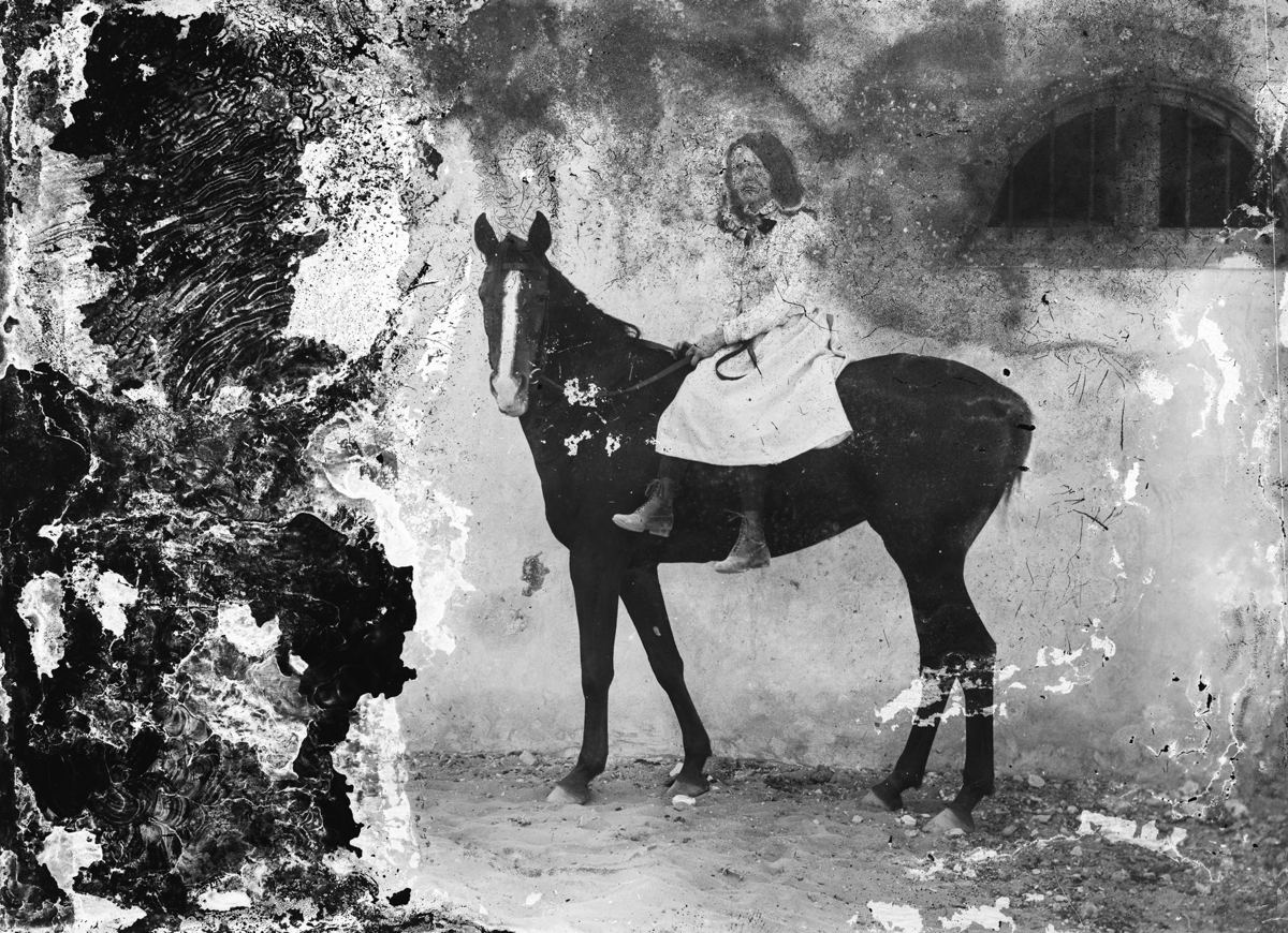 Selim Abu Izzedine's Portrait of a woman on a horse (1900s, Egypt) has been digitally converted from a gelatin silver negative on glass Faysal Abu Izzeddin Collection; Courtesy of the Arab Image Foundation