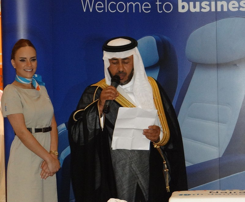 Mohamed Al Qahtani, Director of Nejran Airport , welcoming flydubai to Nejran