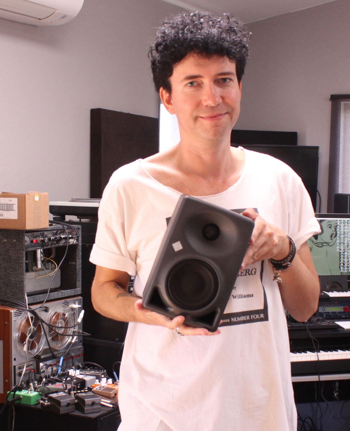 Sune Rose Wagner, film and TV composer and member of the Raveonettes, with one of his Neumann KH 120 monitors.