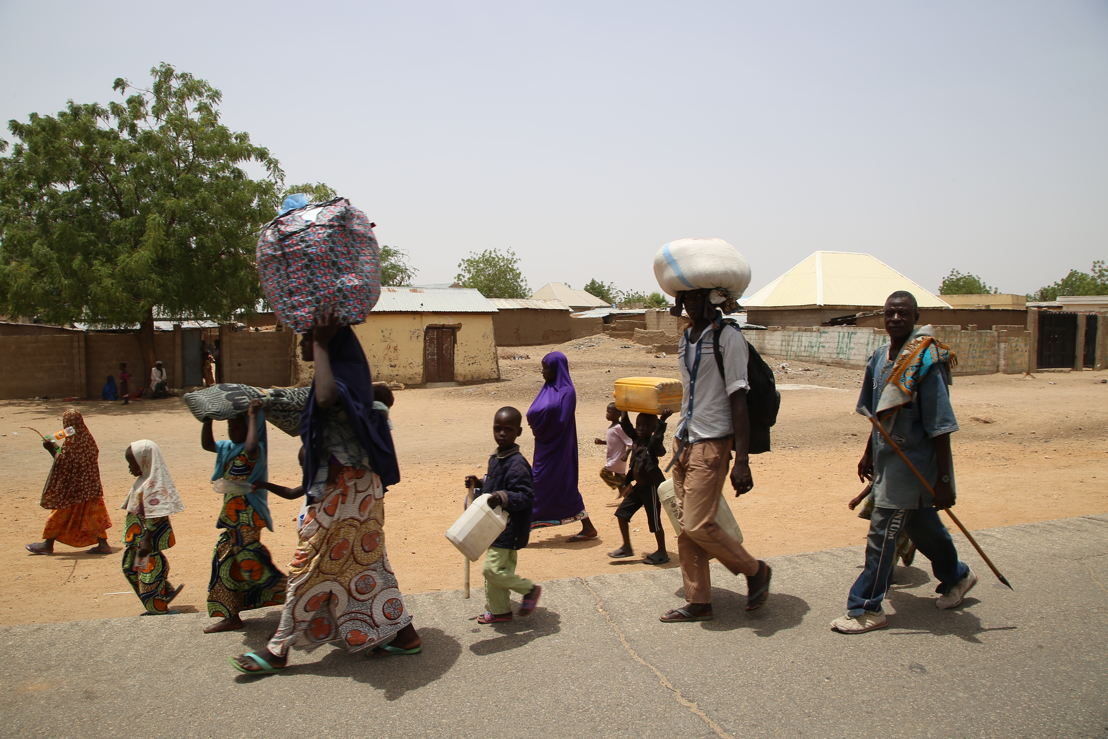 Displaced people arrive in the town of Pulka, in the northeast of Nigeria. Photographer: Igor Barbero