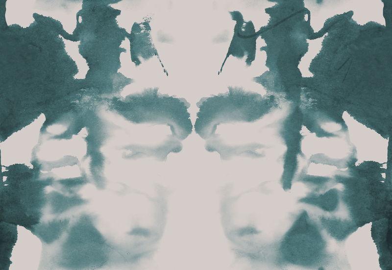 Teal and Cream Rorschach