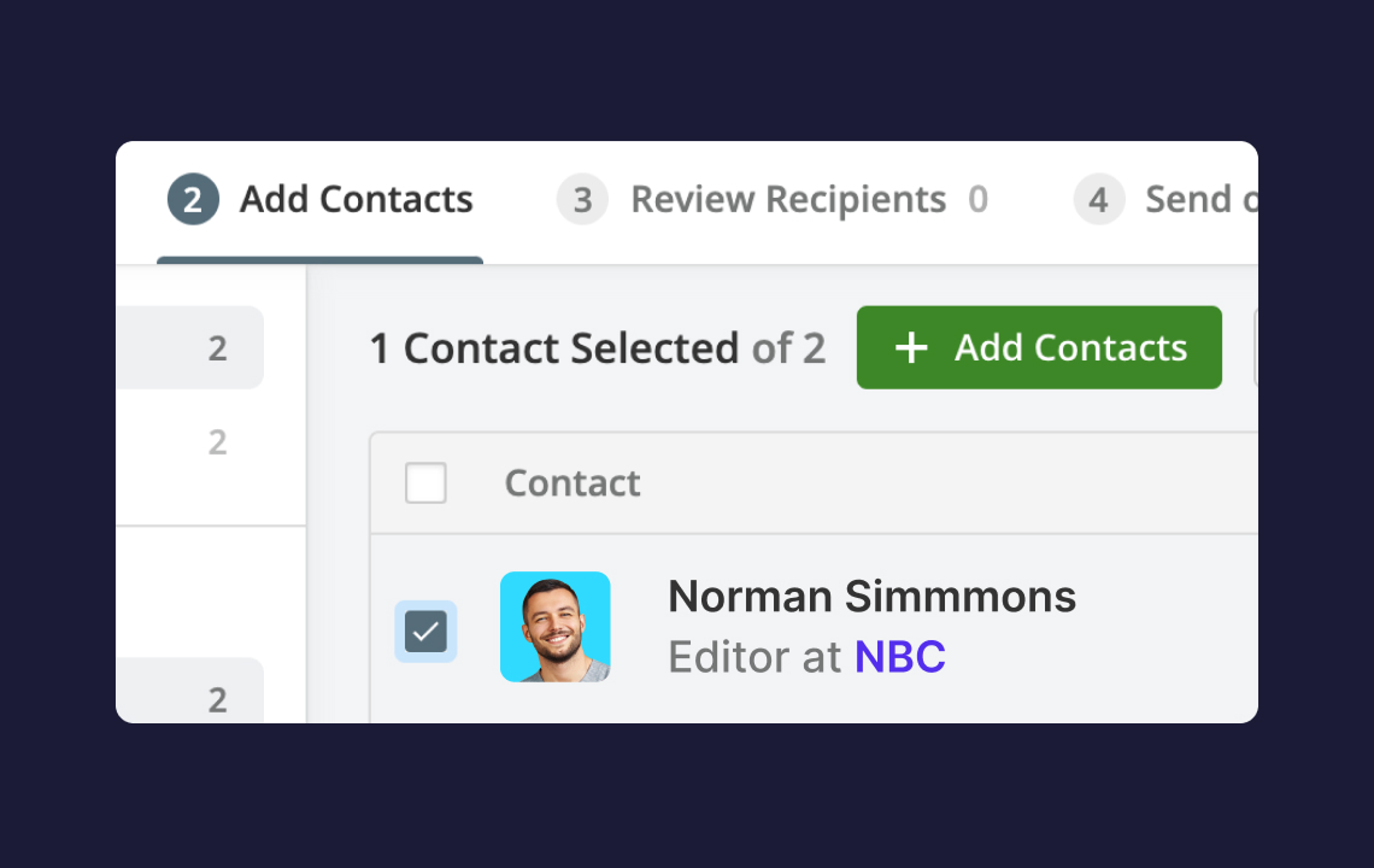 Adding contacts & reviewing recipients