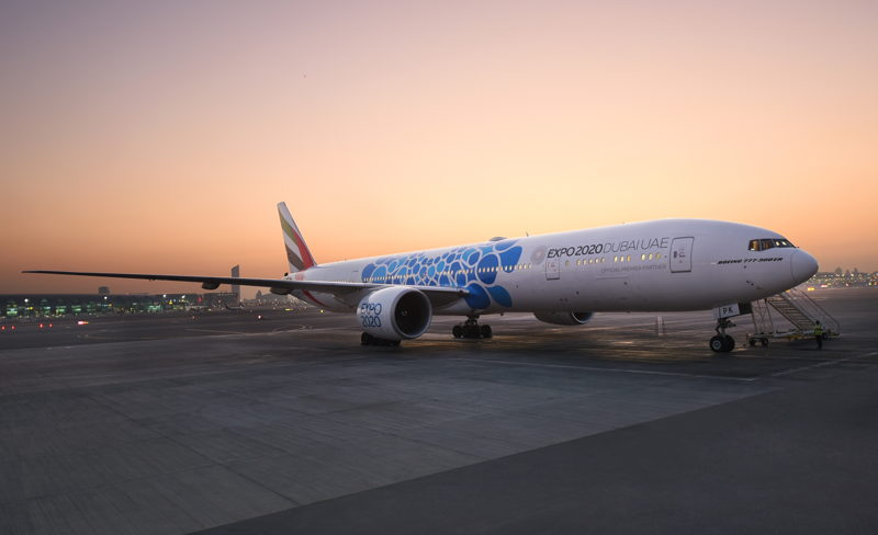 Emirates will be installing three different decal designs to reflect the different themes of Expo 2020