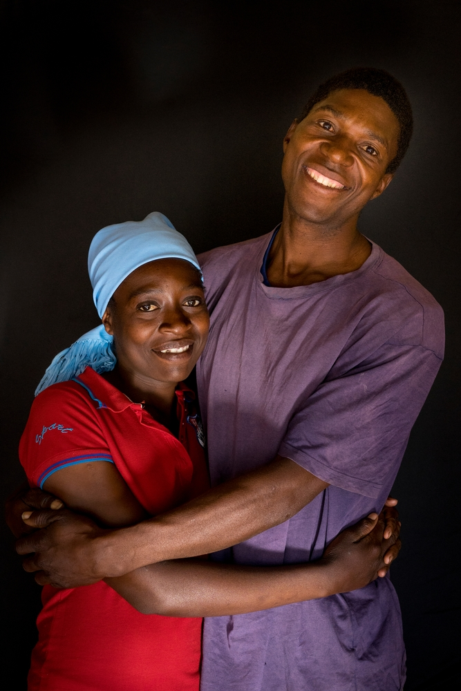 Portrait of Ngonidzashe (28) and her husband Hastings. They are a HIV positive couple supporting each other through ARV treatment, they also have 3 healthy children. <br/><br/>In February, Ngonidzashe was tested for VIAC and nurses found lesions that were more than 75% of the cervix. Living in a poor village near Gutu, they could not afford to go to Harare, the capital, to proceed to any treatment. They finally had the opportunity, thanks to Medecins Sans Frontieres (MSF), to proceed to LEEP (Loop Electrosurgical Excision Procedure). During the procedure, they removed abnormal cervical tissue using a low-voltage electrified wire loop. She has to check in 4 months if the lesions have disappeared. Photographer: Melanie Wenger/COSMOS