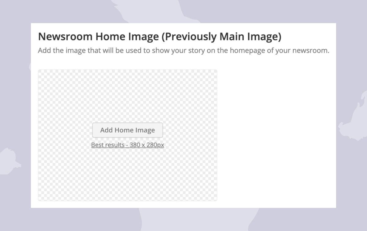 Help: Setting the Newsroom home image for your Story