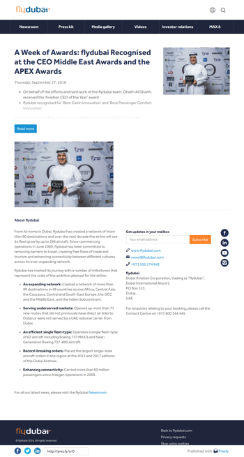 A Week of Awards: flydubai Recognised at the CEO Middle East Awards and the APEX Awards