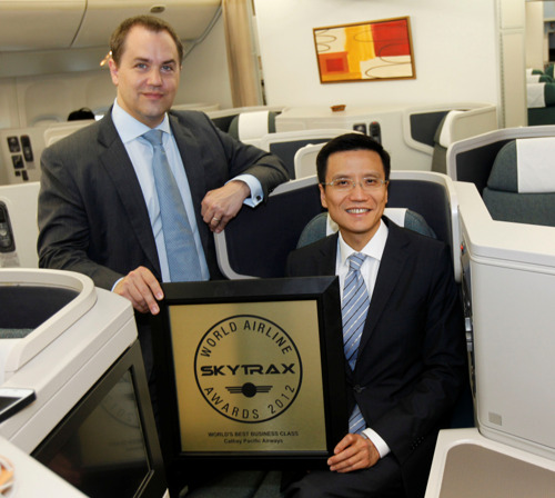 """Cathay Pacific accepts Skytrax """"World's Best Business Class"""" award on behalf of its customers and its staff"""