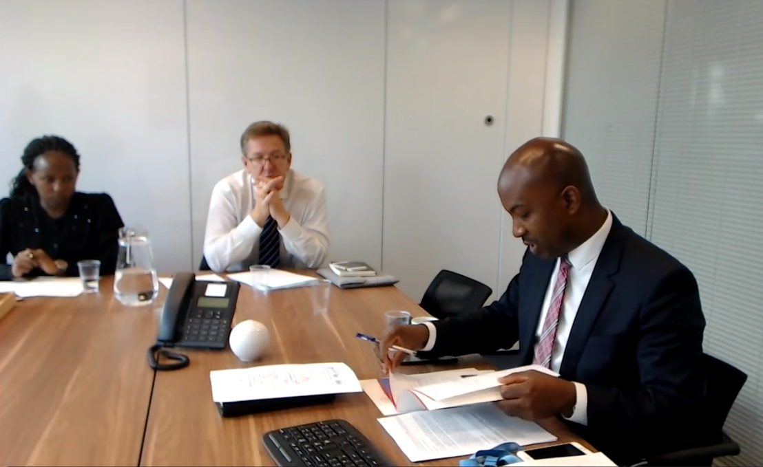 Participants joining the virtual meeting from the OECS Mission in Geneva, Switzerland.