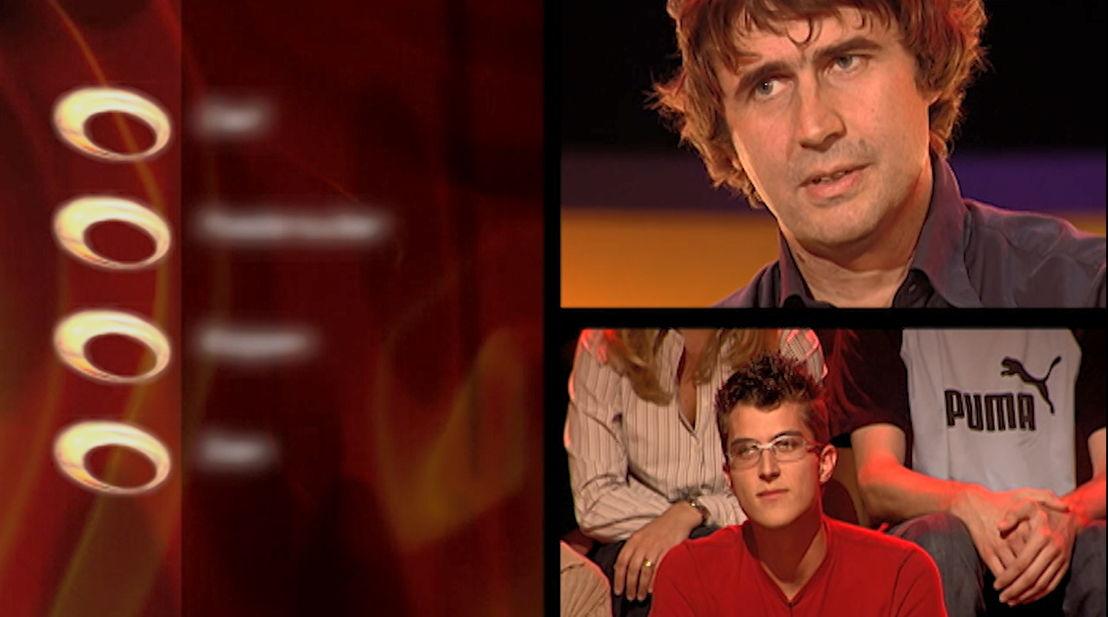 2003: Erik Van Looy als kandidaat in De slimste mens, toen nog de quiz van Bruno Wyndaele - (c) VRT