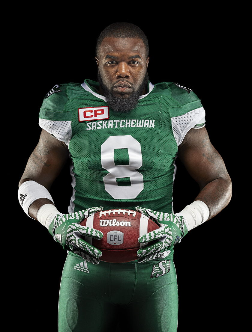 Saskatchewan Roughriders adidas home jersey (Shawn Lemon).