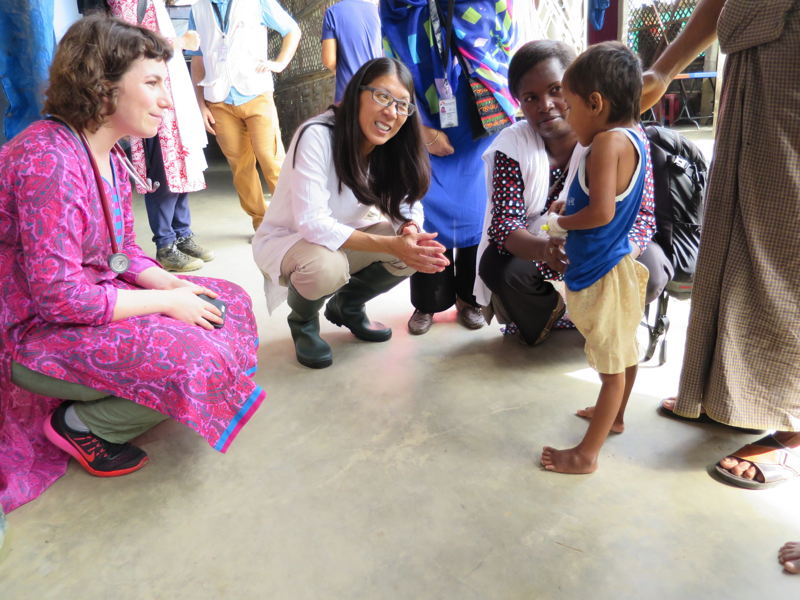 "MSF's President Joanne Liu meets a ten year old girl at Kutupalong Health Facility, who has just started making a miraculous recovery from tetanus, after her third week in hospital. Doctors had not expected the young Rohingya girl to survive. &#039;Tetanus is a disease that has been eliminated throughout most parts of the world by vaccination.&#039; But not in North Western Myanmar, the home of this girl&#039;s family, where they recently fled from.<br/><br/>MSF's President Joanne Liu reflected about why she was drawn to the little girl, as her father proudly helped her walk around the facility: ""Tetanus can have such a high case fatality rate that seeing someone who survived and was walking, it's always, I would say a victory over so this is why I thought it was quite amazing to see her walking around in the clinic."" <br/><br/>[Left to right: Doctor Nina Goldman, MSF President Dr Joanne Liu and Nurse Activities Manager Jacqueline Murekezi meet with a tetanus survivor]. Photographer: Amelia Freelander"