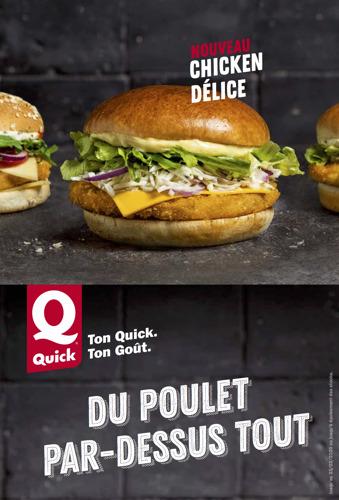 """Quick met """"Du poulet par-dessus tout"""" dans sa nouvelle campagne."""
