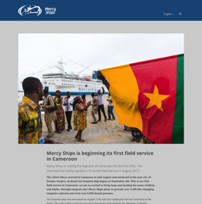 Mercy Ships is beginning its first field service in Cameroon
