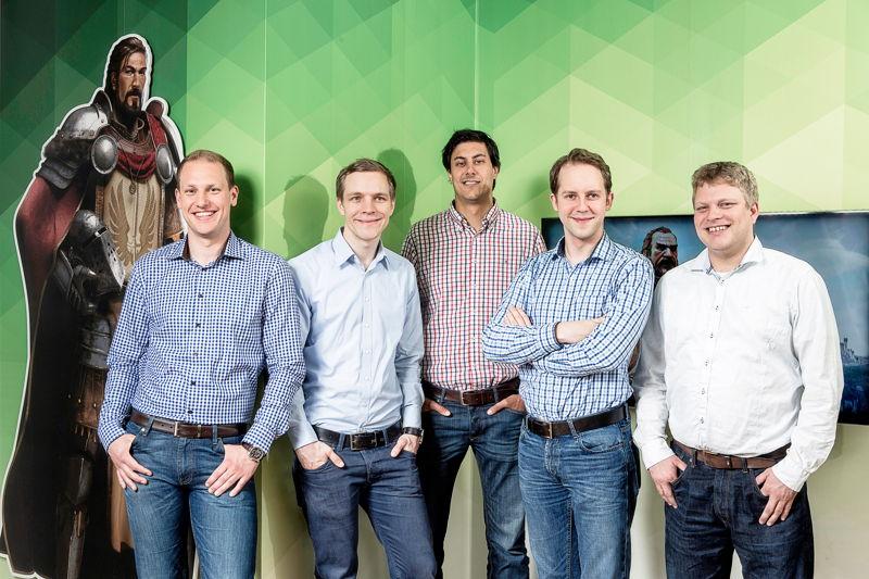 InnoGames Management (vlnr.): Christian Pern, Eike Klindworth, Armin Busen, Hendrik Klindworth, Michael Zillmer
