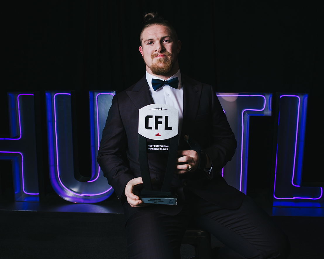 Most Outstanding Defensive Player Adam Bighill at the 2018 Shaw CFL Awards. Photo credit: Johany Jutras/CFL.ca