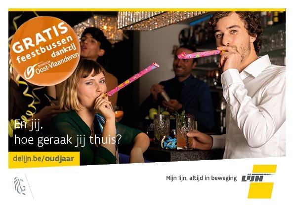 Ook in 2020 gratis feestbussen De Lijn op oudejaarsnacht dankzij de Provincie Oost-Vlaanderen