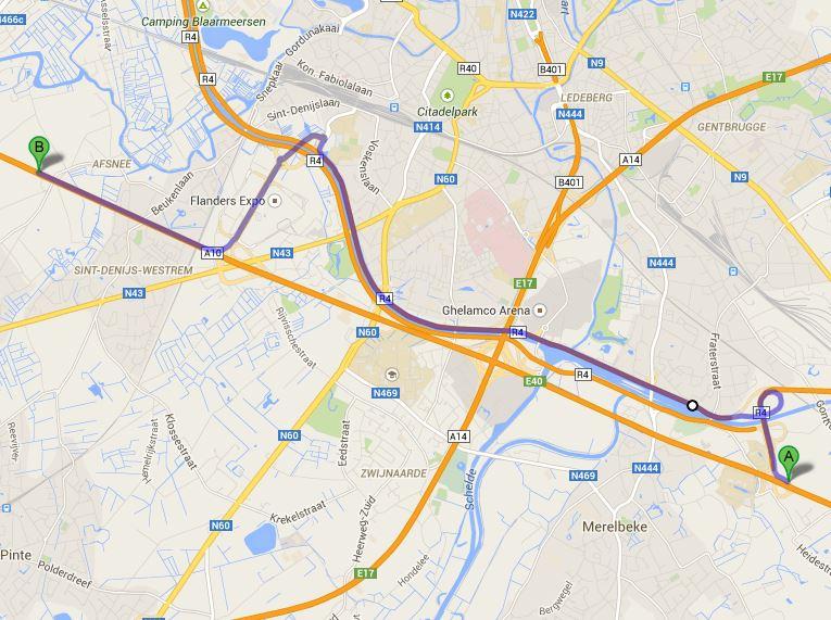 Omleiding voor verkeer op de E40 tijdens de plaatsing van de trambrug in Zwijnaarde.
