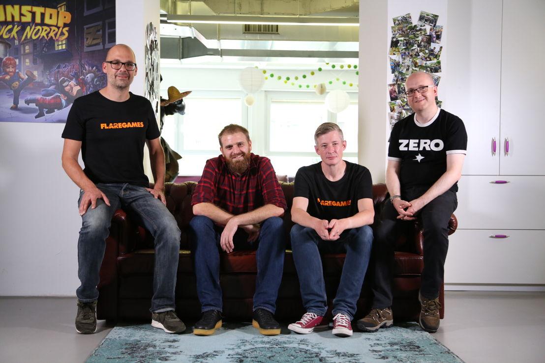 Left to right: Klaas Kersting (Flaregames CEO), Adam Wells (WPG co-founder), Keith Ainslie (Flaregames Executive Producer), Stuart Maine (WPG co-founder)