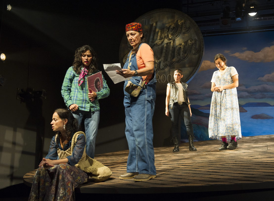 "Tasha Faye Evans (as Marie Adele Starblanket), Lisa C. Ravensbergen (as Annie Cook), Reneltta Arluk (as Emily Dictionary), Tantoo Cardinal (as Pelajia Patchnose), and Tiffany Ayalik (as Zhaboonigan Peterson) in The Rez Sisters by Tomson Highway / Photos by David Cooper / <a href=""http://www.belfry.bc.ca/the-rez-sisters/"" rel=""nofollow"">www.belfry.bc.ca/the-rez-sisters/</a>"