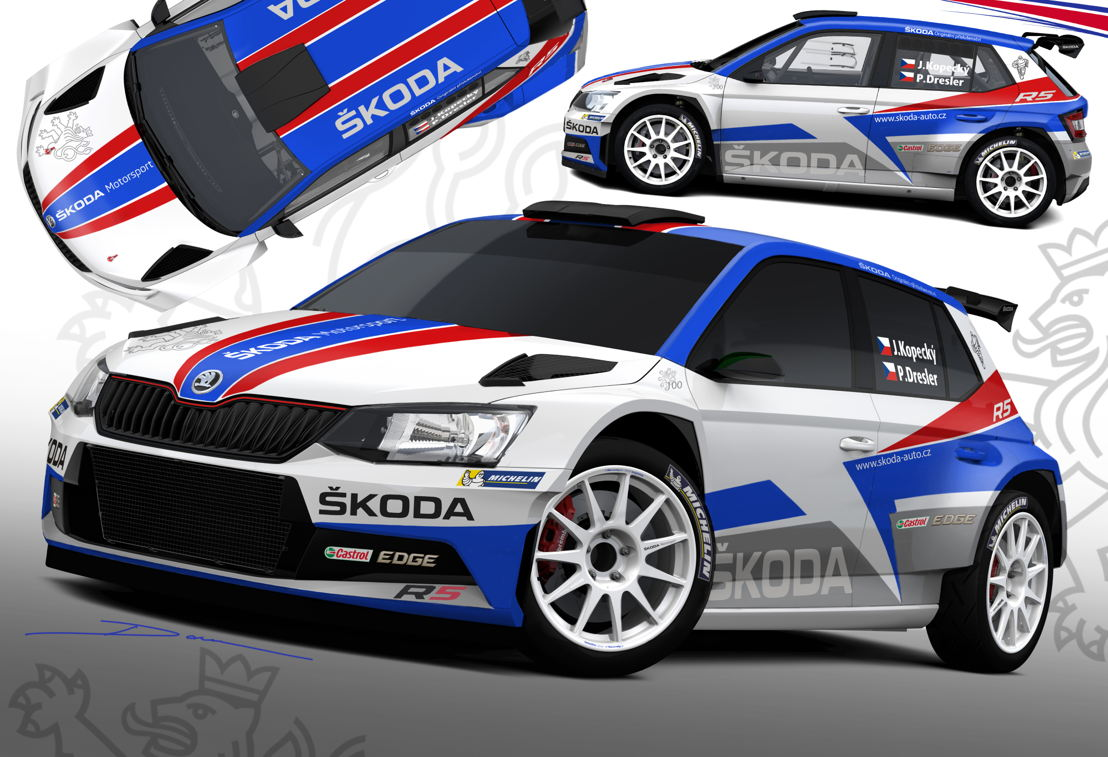In 2018 Czech Rally Champion Jan Kopecký is defending his title driving a ŠKODA FABIA R5 in colours celebrating the 100th birthday of Czechoslovakia.