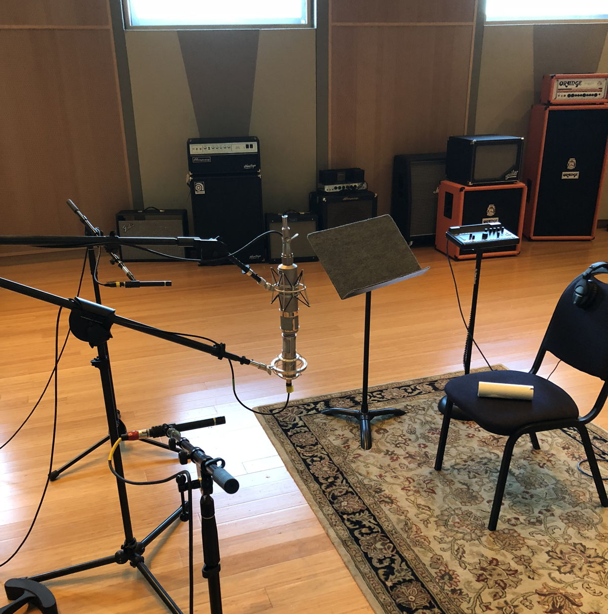 Martin miked Holcomb's guitar with a spaced pair of DPA 4011 microphones as well as a Telefunken U47 and a Shure 353.