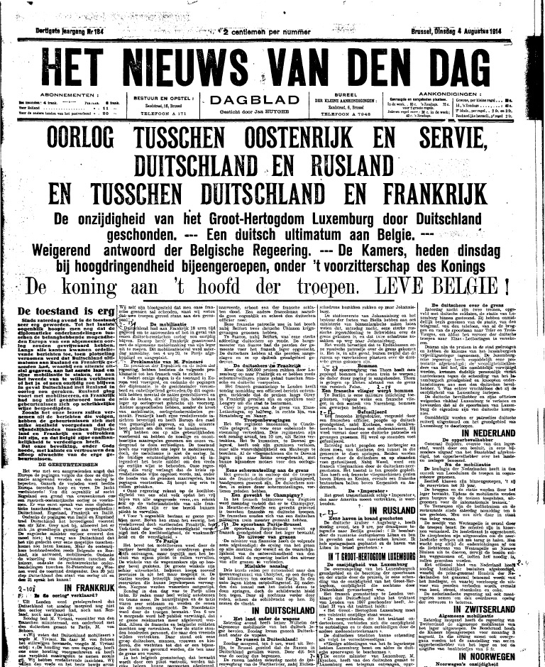 Krant: Het nieuws van den dag (copyright: Koninklijke Bibliotheek van België)
