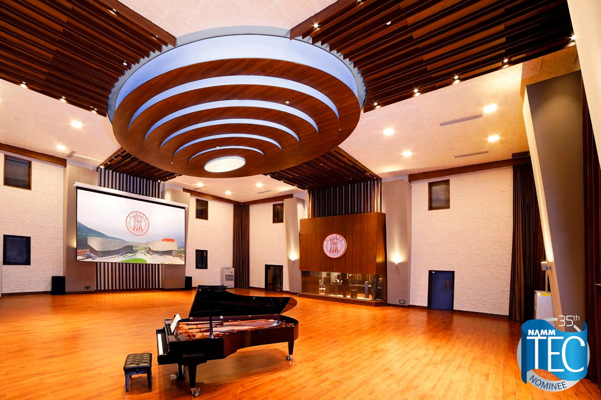 WSDG ZJCM Live Room with iconic ceiling cloud/lighting/acoustic element Photos by Josef Müller