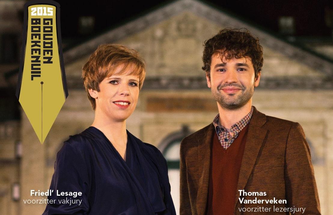 De Gouden Boekenuil - Juryvoorzitters en presentatoren Friedl' Lesage en Thomas Vanderveken (c) Sigfrid Eggers
