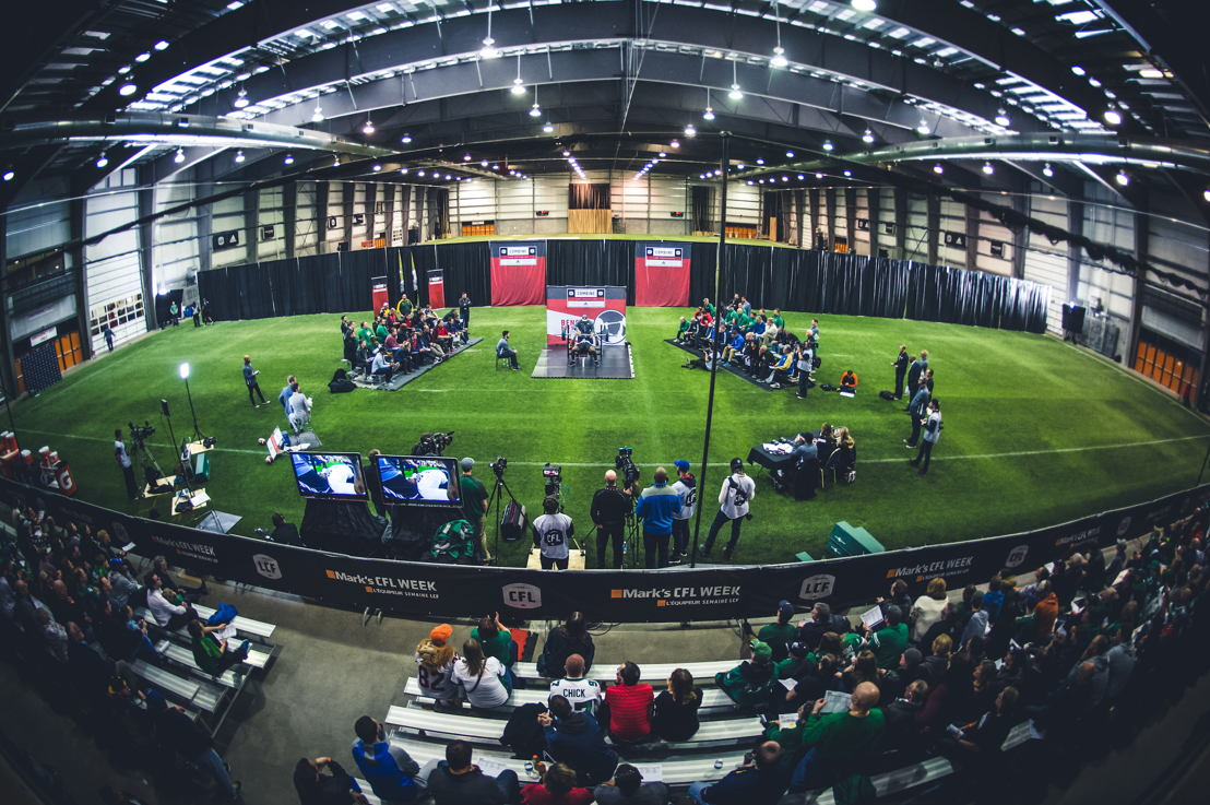The Bench Press set at the CFL Combine presented by adidas. Photo credit: Johany Jutras/CFL