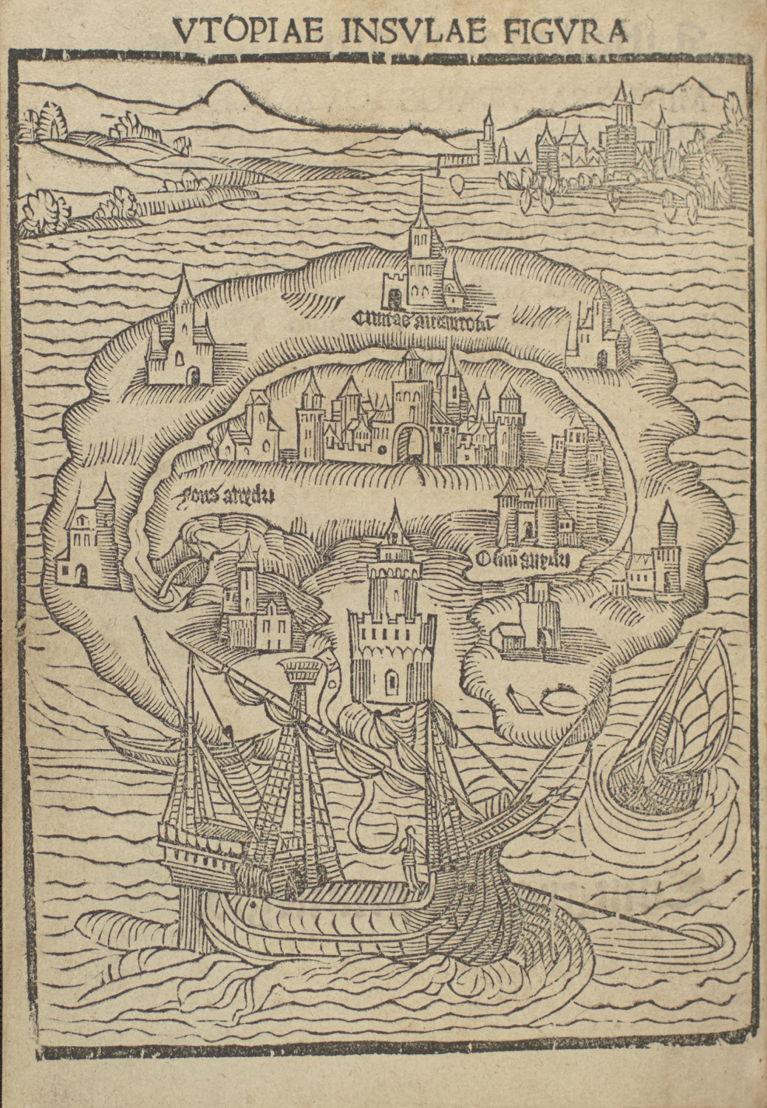 Utopia, Thomas More, Louvain, 1516, Bibliothèque royale de Belgique, Réserve précieuse, INC A 1945, fol. 1v.