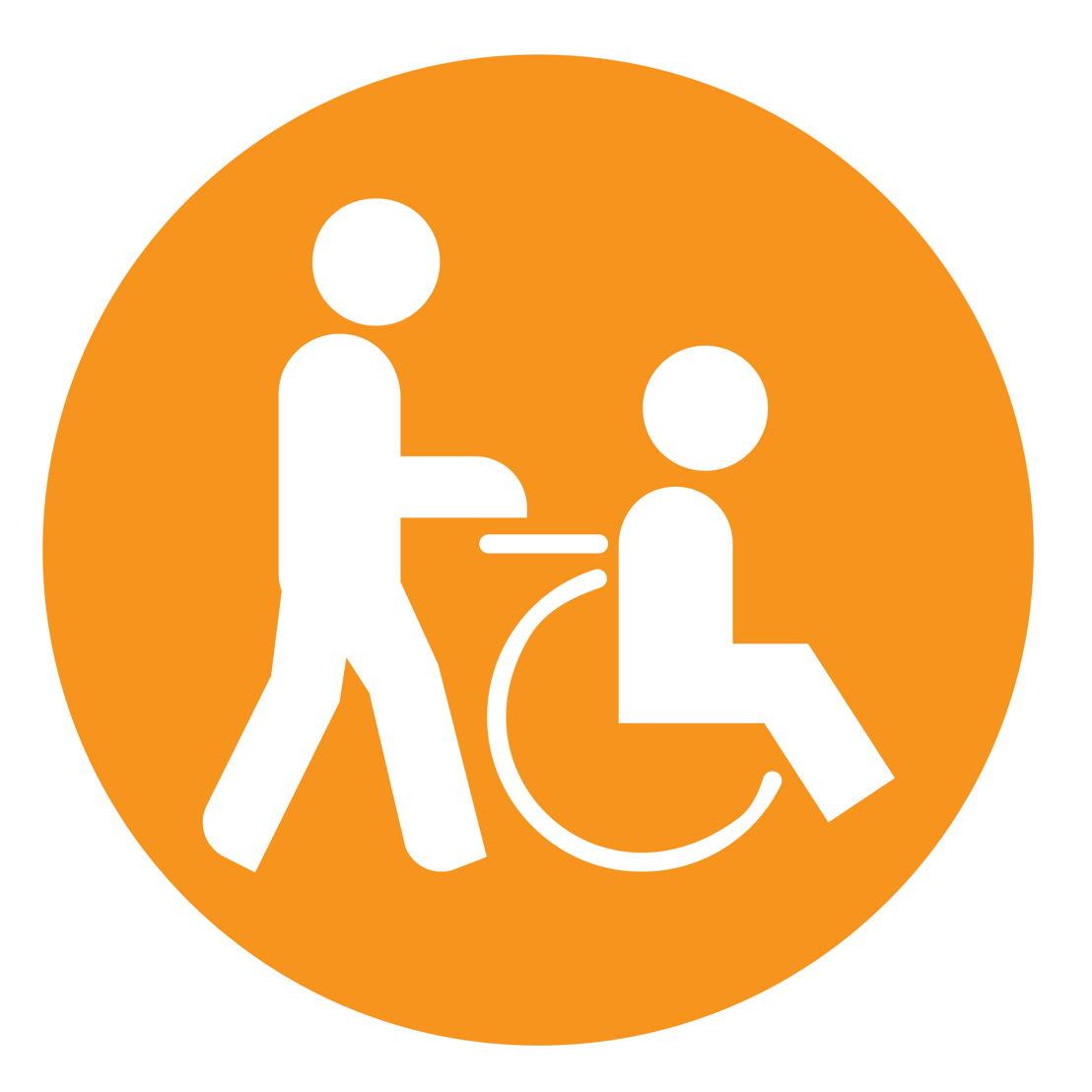 Icoon: toegankelijk voor mensen met een mobiele  beperking, assistentie is mogelijk nodig. De helling om op het voertuig te geraken is groter dan 12 %, maar minder dan 20 %.