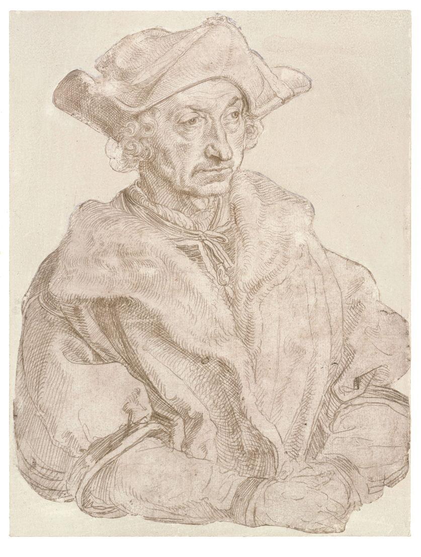 © Albrecht Dürer, Portret van een humanist (Sebastian Brant?), 1520/1521 (?). Berlijn, Staatliche Museen zu Berlin, Kupferstichkabinett.