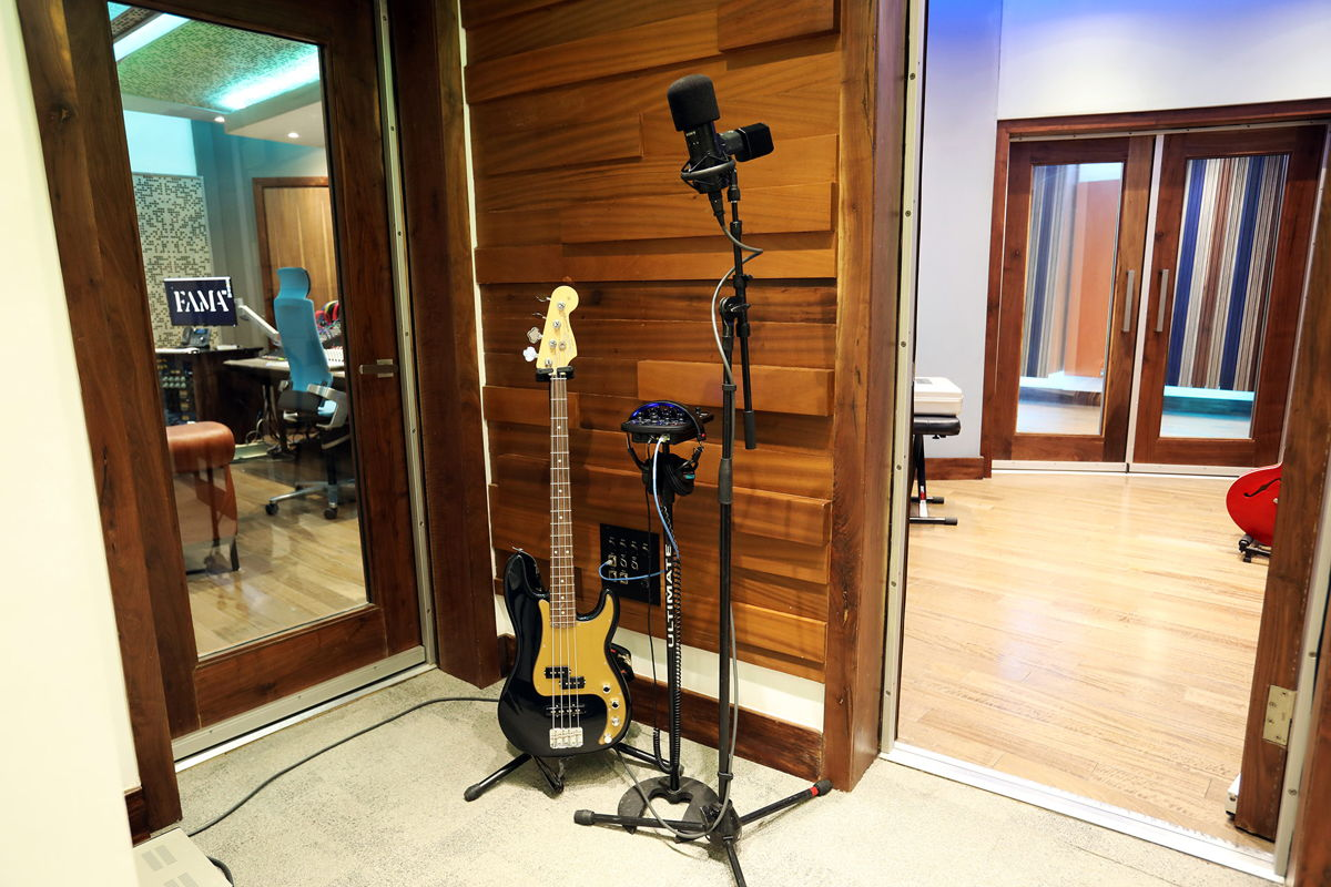 Studio A Live Room Iso Booth with views into CR & Live Room