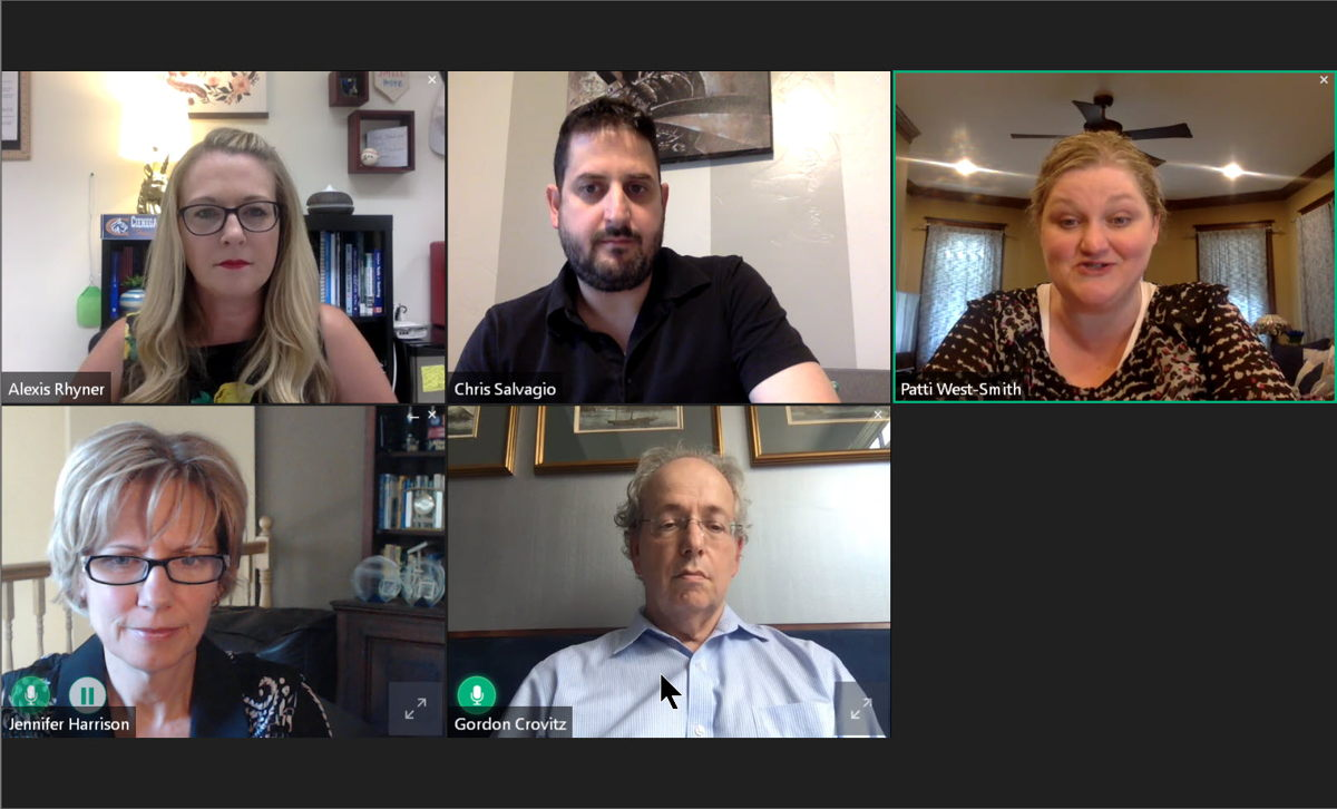 Screen grab from the press panel (clockwise top left to right): Alexis Rhyner, Chris Salvagio, Patti West-Smith, Gordon Crovitz, Jennifer Harrison (moderator). Not pitcured: Steven Brill.