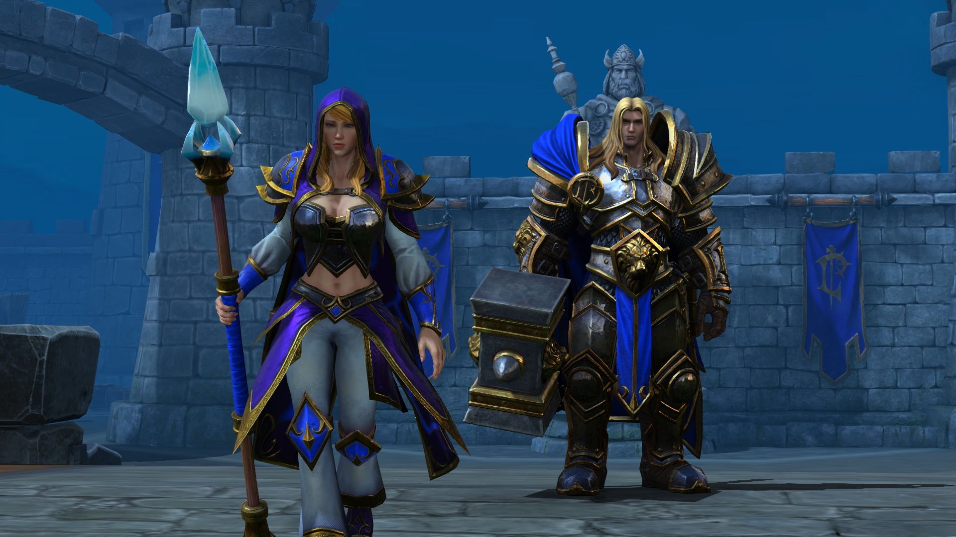 Jaina Portvaillant et Arthas Menethil, les héros humains de Warcraft III: Reforged