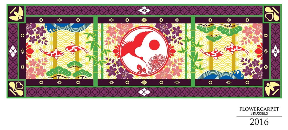 Persbericht: Voor de 20e editie viert het Bloementapijt 2016 150 jaar Belgisch-Japanse vriendschap
