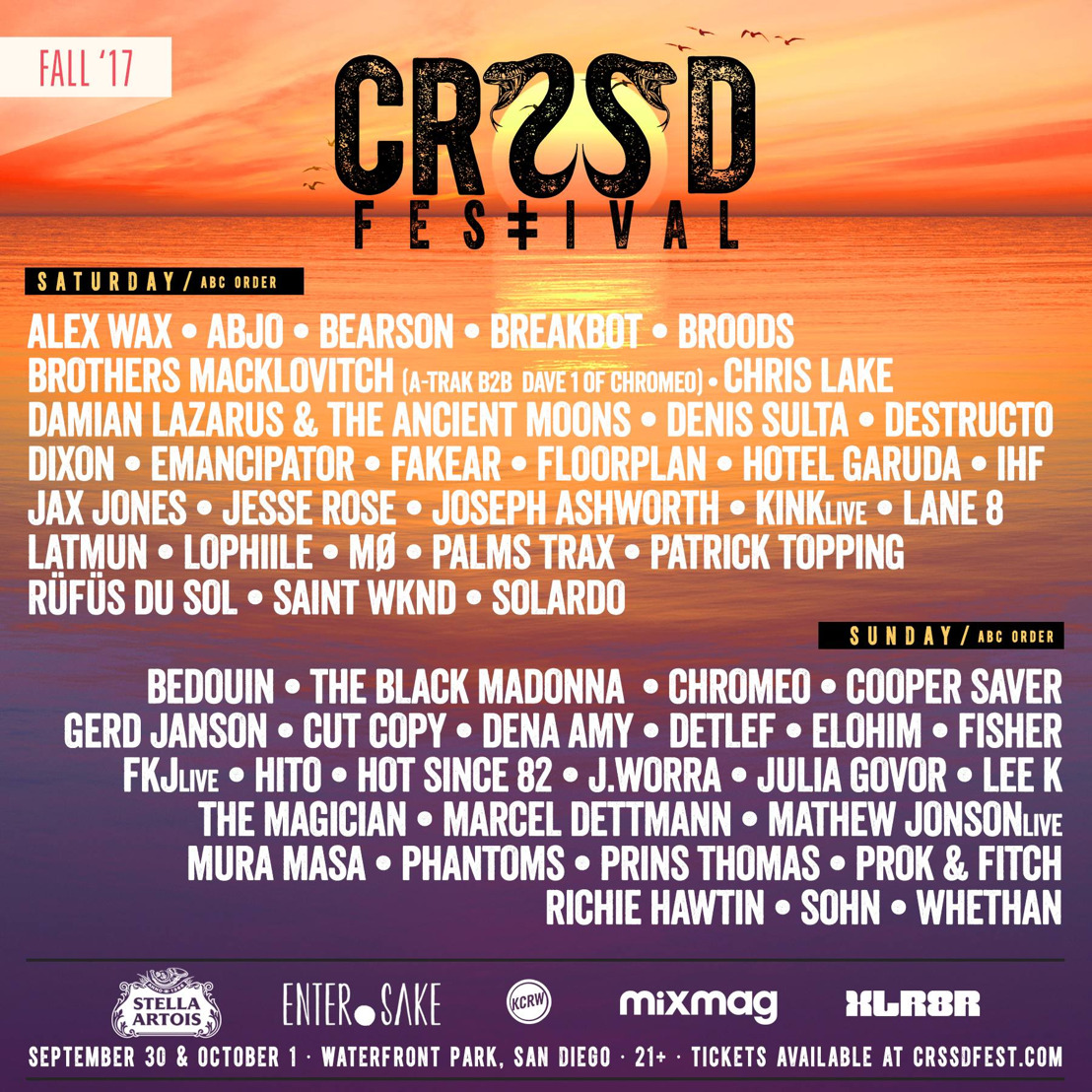 CRSSD Festival Announces 2017 Fall Lineup