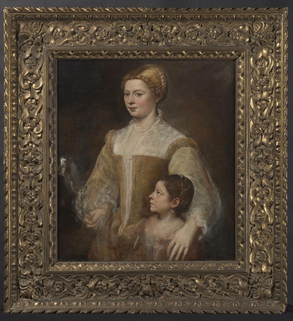 Titiaan (Tiziano Vecellio), Portret van een dame en haar dochter, ca. 1550, olieverf op doek, 88.3 x 80.6 cm particuliere verzameling, vanaf 21 november 2017 in langdurig bruikleen in het Rubenshuis Antwerpen, foto KIK-IRPA