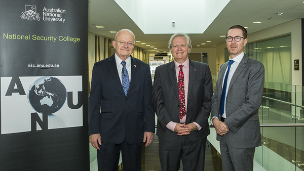 (L-R) James Clapper, Professor Brian Schmidt and Professor Rory Medcalf