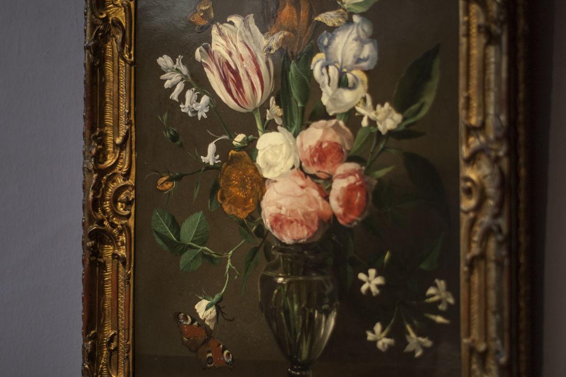 Daniël Seghers, Stilleven met een vaas bloemen, detail bruikleen, particuliere verzameling, foto Ans Brys