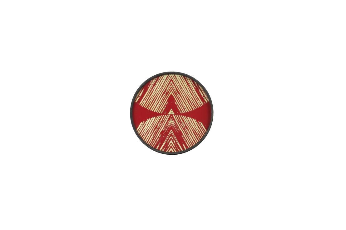 Gold Linear Circles mini glass tray-wooden rim