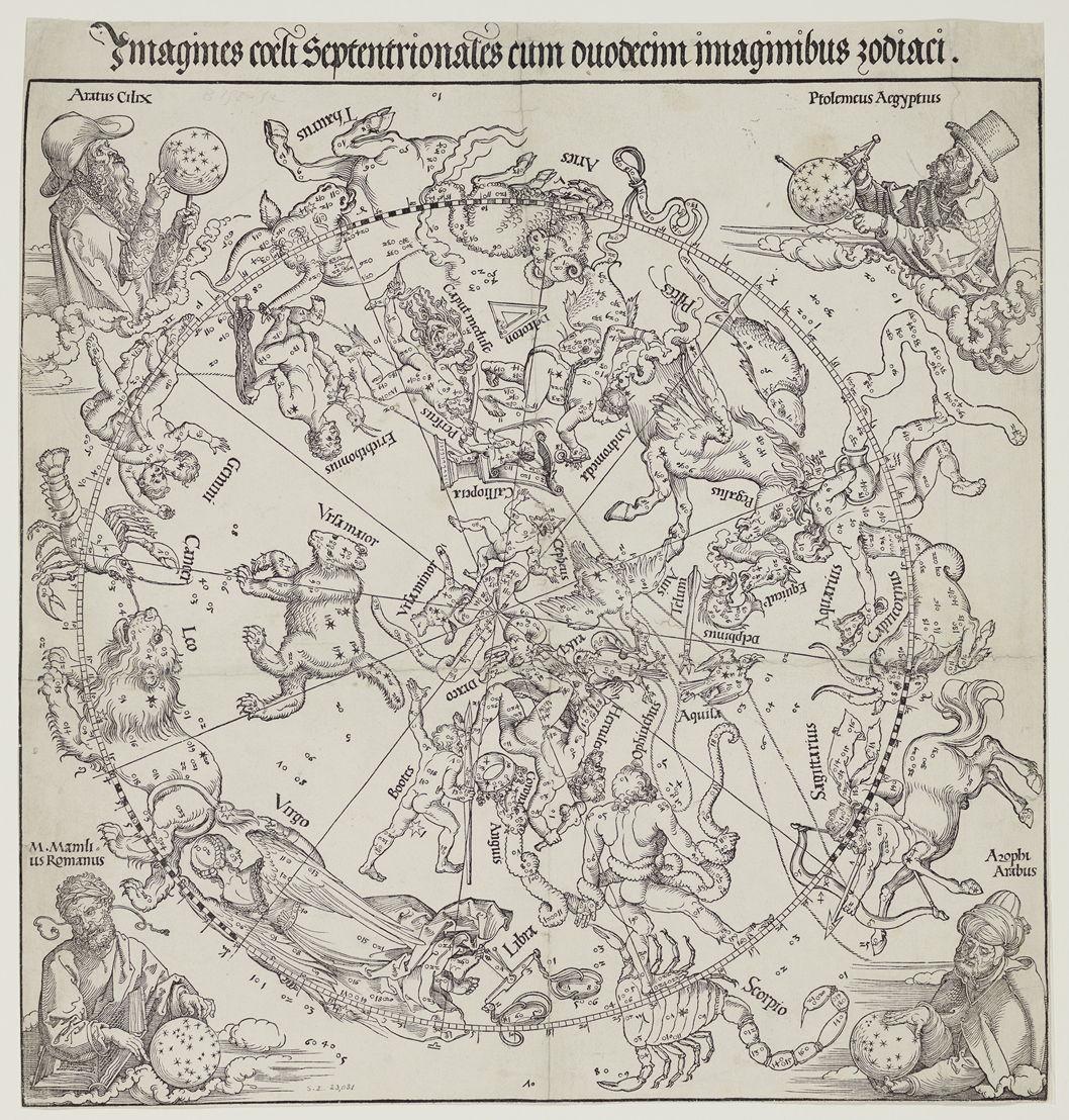 Imagines coeli septentrionales cum duodecim imaginibus zodiaci, Albrecht Dürer d'après Conrad Heinfogel, 1515, Bibliothèque royale de Belgique, Cabinet des Estampes, SII 23031.