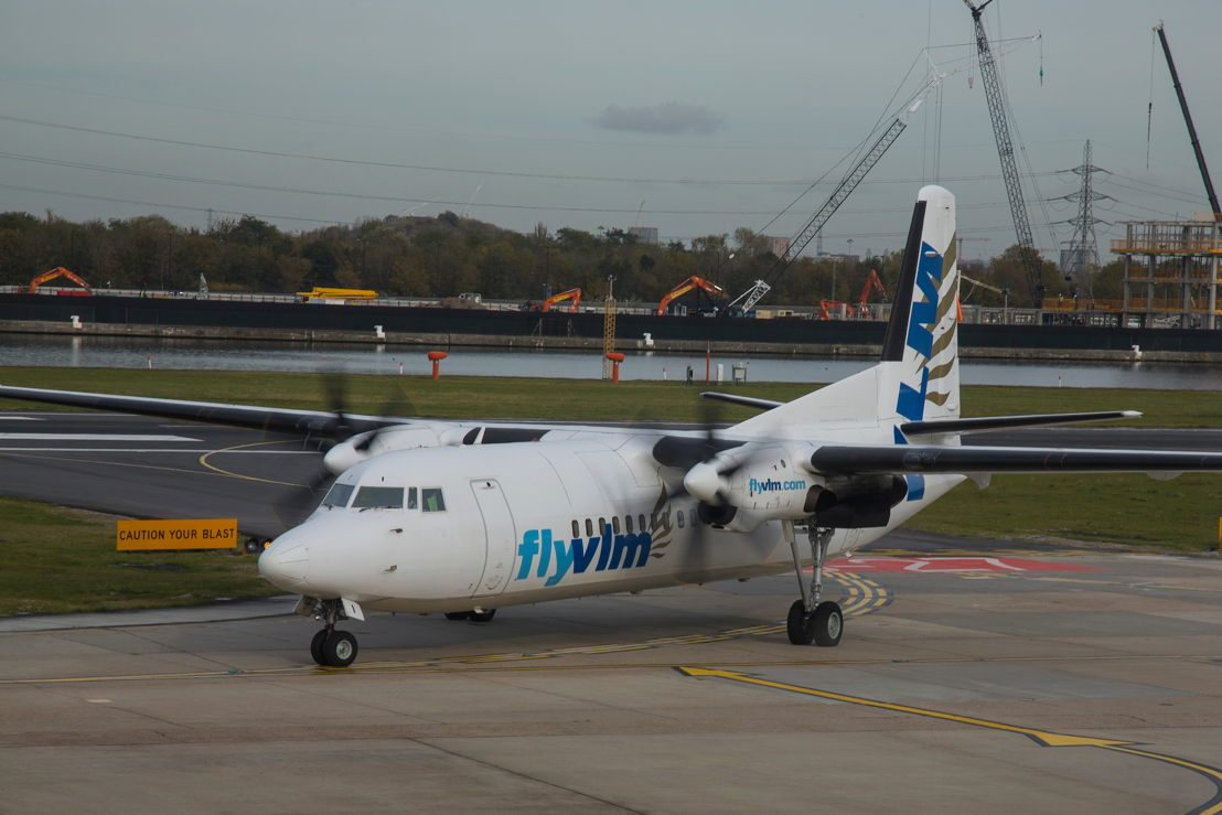 VLM Airlines Fokker 50 arriving at London City Airport this morning