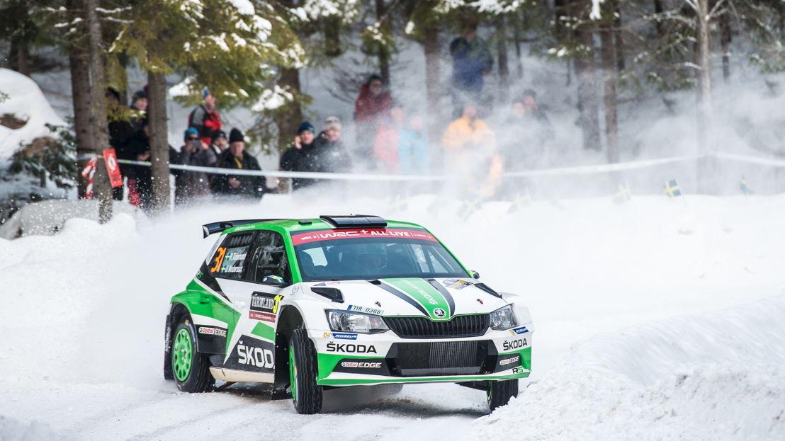 Pontus Tidemand/Jonas Andersson (SWE/SWE), driving a ŠKODA FABIA R5, finished second in the WRC 2 category