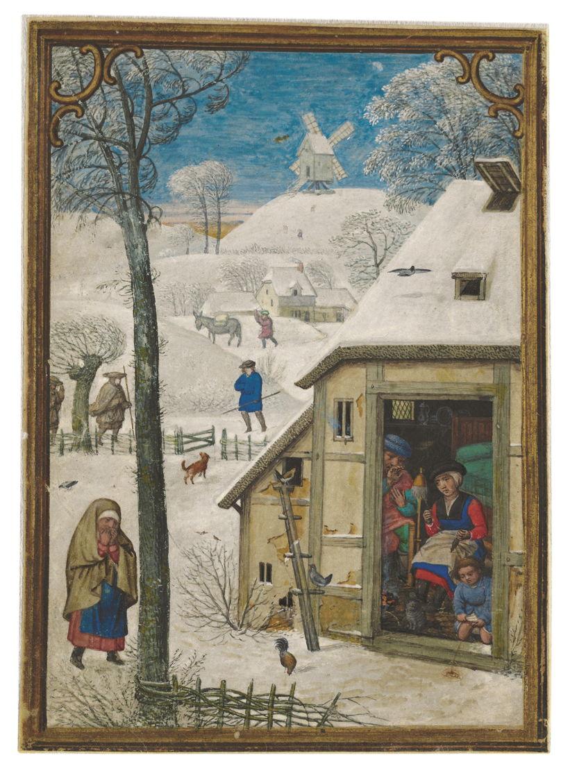 Op zoek naar Utopia © Simon Bening, De maand januari .In: Het Hennessy-getijdenboek, gebruik van Rome, Brugge, ca. 1530–1535. Brussel, Koninklijke Bibliotheek van België.