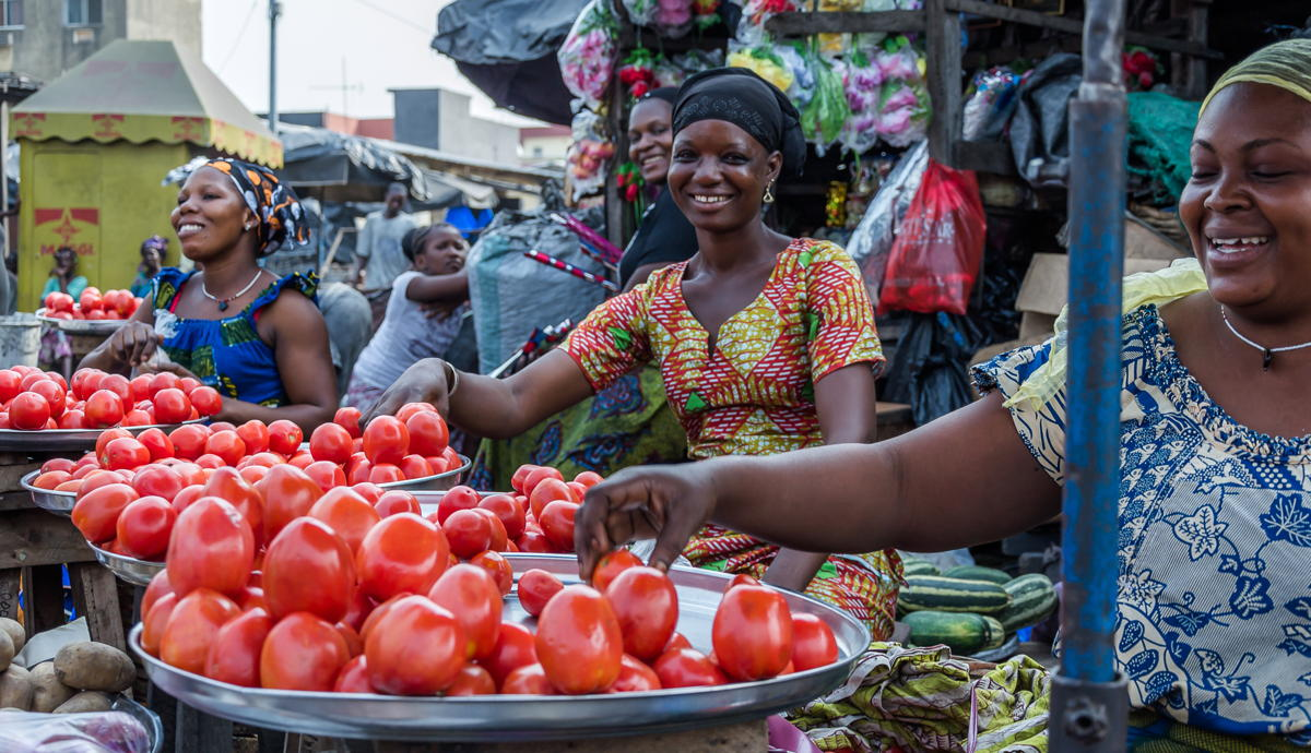 A market in Abidjan, the capital of Ivory Coast.